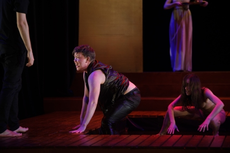Actor Harvey Zielinski playing Erysichthon in Metamorphoses by Mary Zimmerman at The National Theatre Drama School