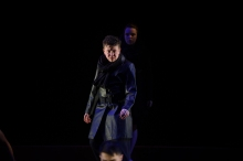 Actor Harvey Zielinski playing Hades in Metamorphoses by Mary Zimmerman at The National Theatre Drama School