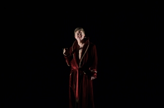 Actor Harvey Zielinski playing Zeus in Metamorphoses by Mary Zimmerman at The National Theatre Drama School