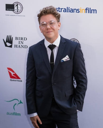 Harvey Zielinski as a top ten finalist at the 2018 Heath Ledger Scholarship announcement ceremony, at the Chateau Marmont in Los Angeles. Photos by Mac1photo.
